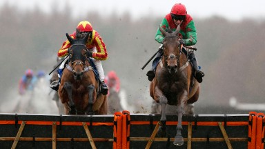 Coole Cody (left), seen chasing home ill-fated Neon Wolf at Exeter on new year's day, completed a course double at Newton Abbot on Friday