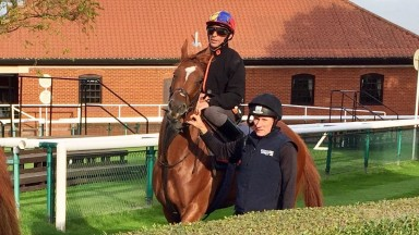 Betty F and Frankie Dettori before their racecourse gallop