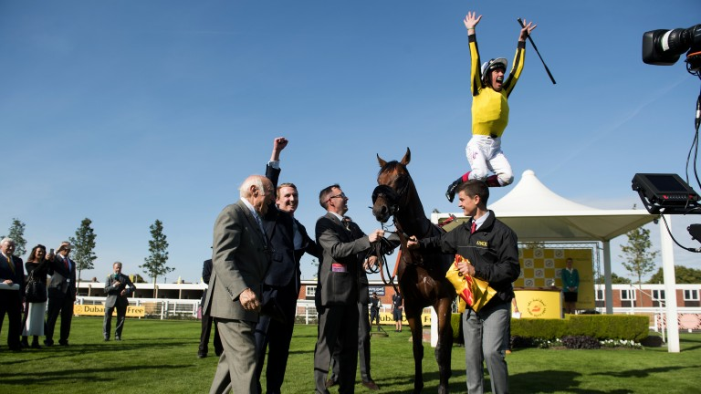 Flying high: Frankie Dettori performs his trademark dismount after James Garfield's victory