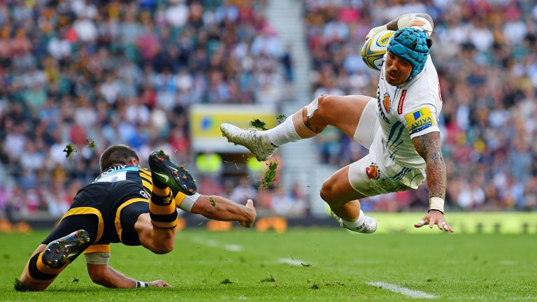 Exeter winger Jack Nowell is tackled in last season's Grand Final against Wasps
