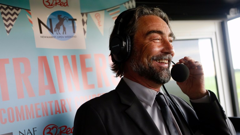 Nathaniel Parker commentating at Newmarket