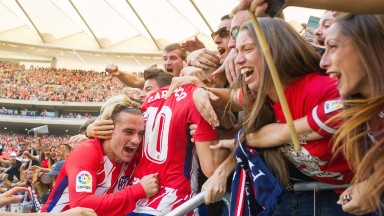 Atletico celebrate their win over Sevilla