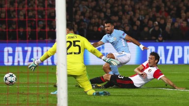 Manchester City's star striker Sergio Aguero caused problems for the Feyenoord defence in Rotterdam on matchday one