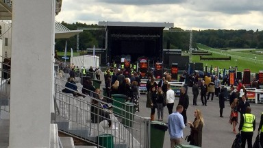 The Lingfield betting ring, with the stage in the background, before the Craig David concert that caused controversy