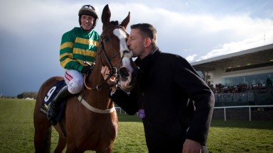 Jer's Girl gets a kiss from her trainer Gavin Cromwell after her big Punchestown win