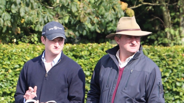 John Ferguson (right) and son James during inspections at the Goffs Orby Sale last month