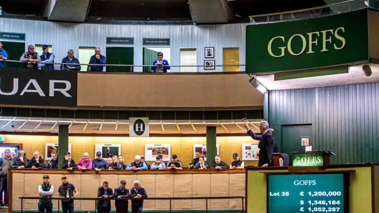 Auctioneer Henry Beeby knocks down lot 35, a filly by Galileo, to John Gosden