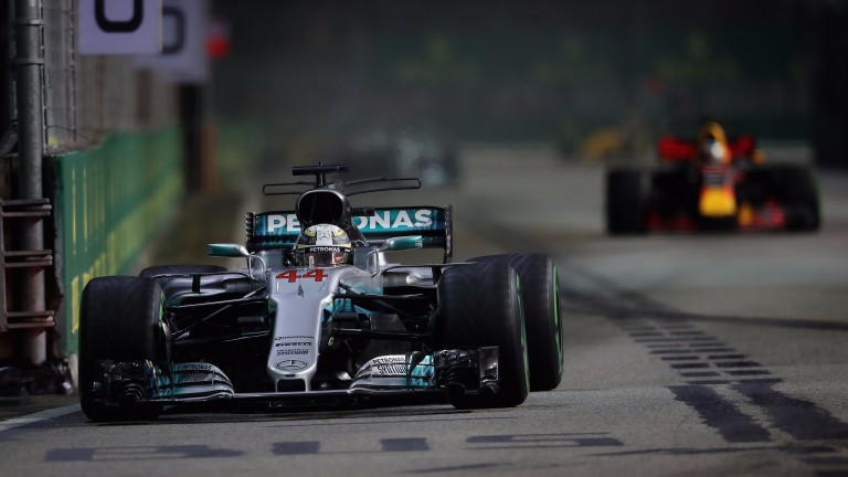 Lewis Hamilton on his way to victory in Singapore