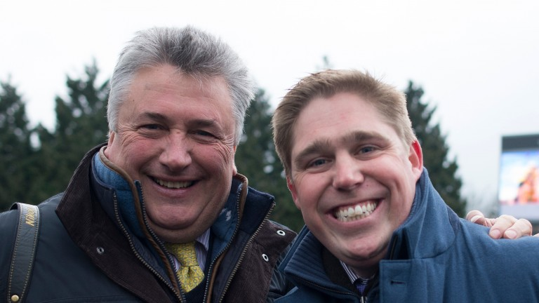Match made in heaven: Skelton and Paul Nicholls (left) at Kempton in February before they saddled the only two runners in a graduation chase. On that occasion the sorcerer outdid his former apprentice when Politologue beat Pain Au Chocolat