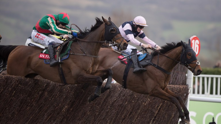 Un Temps Pour Tout (Tom Scudamore, near side) lands the Ultima Handicap Chase for the second time in 2017