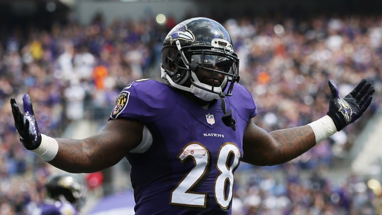 Baltimore running back Terrance West scored twice against Cleveland