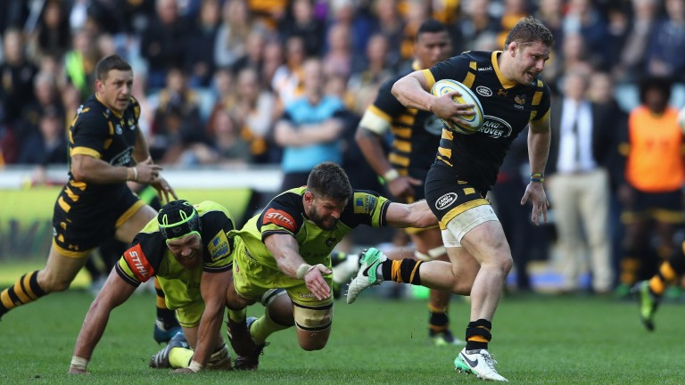 Back-rower Thomas Young makes a break for Wasps last season