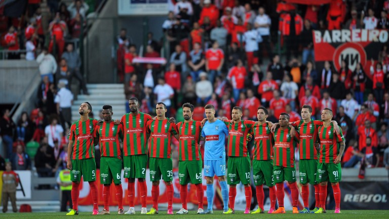 Maritimo line up for photgraphs before last season's home meeting with Benfica