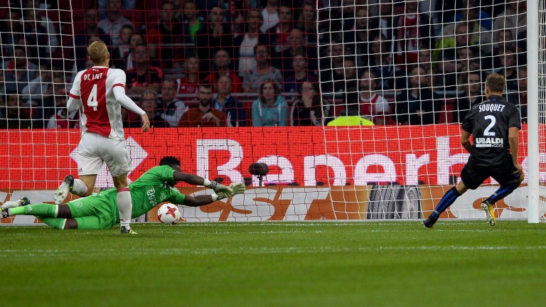 Arnaud Souquet scores for Nice against Ajax in the Champions League