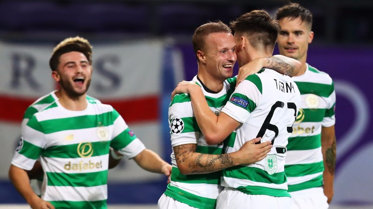 Celtic celebrate a goal in their Champions League win at Anderlecht
