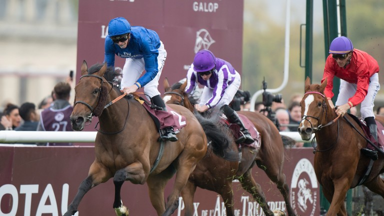 Wild Illusion and James Doyle win the Prix Marcel Boussac at Chantilly