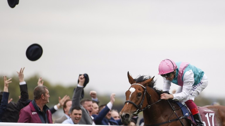Hats off: Enable clears away to win the Arc and will bid to get back on track at Kempton on Saturday