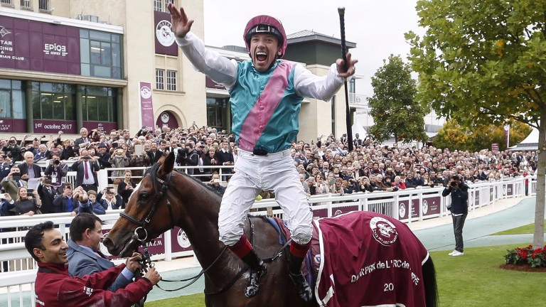 Frankie Dettori leaps for joy after his record-breaking fifth Arc success