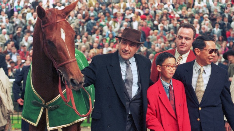 Urban Sea with trainer Jean Lesbordes and owner David Tsui with son Christopher