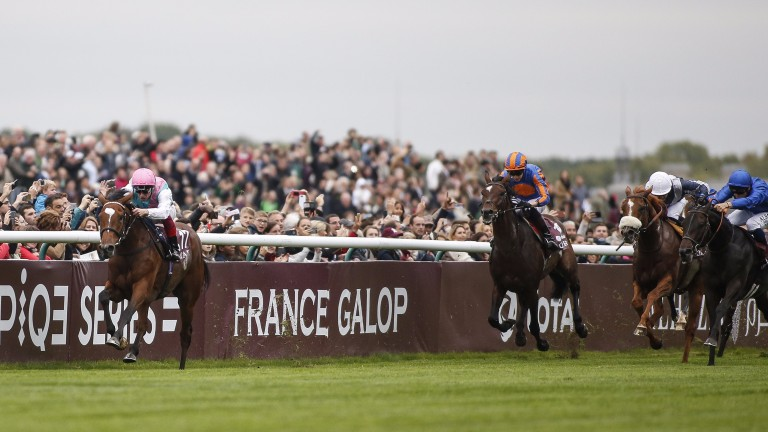 Enable, rated 2lb below Cracksman, powers to victory in the Prix de l'Arc de Triomphe