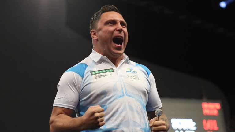 Gerwyn Price celebrates his win over Michael Smith