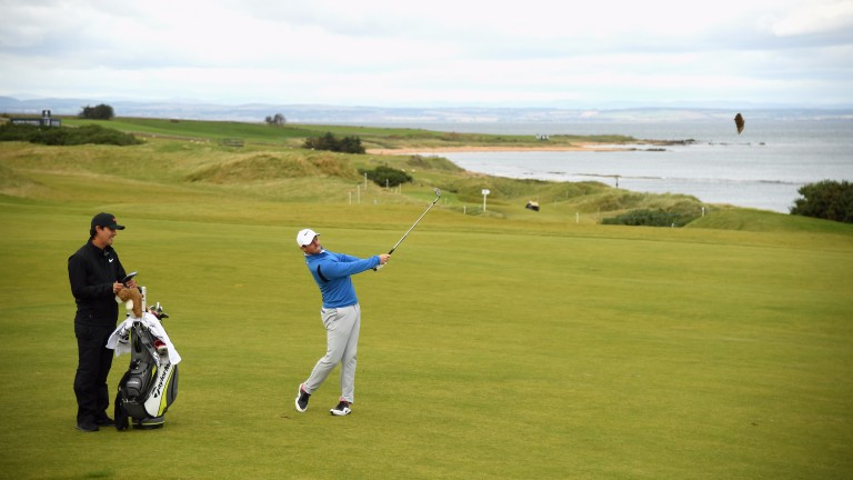 Rory McIlroy during a practice round at Kingsbarns this week