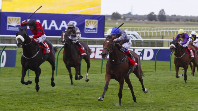 Frankie Dettori (centre) strikes for home in the Cambridgeshire on Never Can Tell