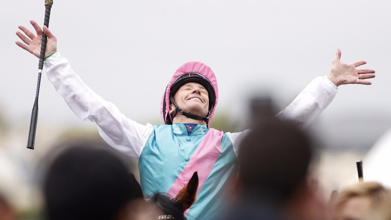 Frankie Dettori enjoys the moment after Enable's Arc success