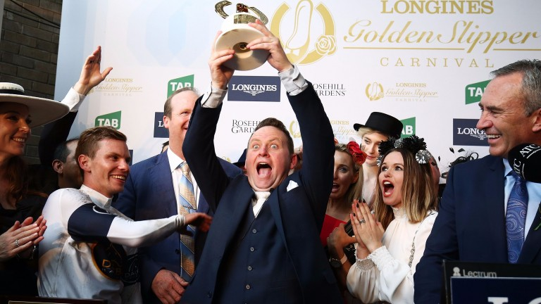 Hitting the jackpot: connections of cheaply bought filly She Will Reign, a leading fancy for the Everest, celebrate after winning the Golden Slipper