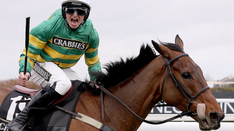 On The Fringe landing the Aintree Foxhunters' in 2016 under Jamie Codd
