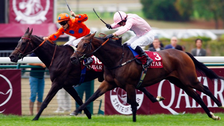 Dar Re Mi (nearside) and Jimmy Fortune passed the post first in the 2009 Prix Vermeille but, in an extremely controversial case, was demoted to fifth by the raceday stewards at Longchamp for interference