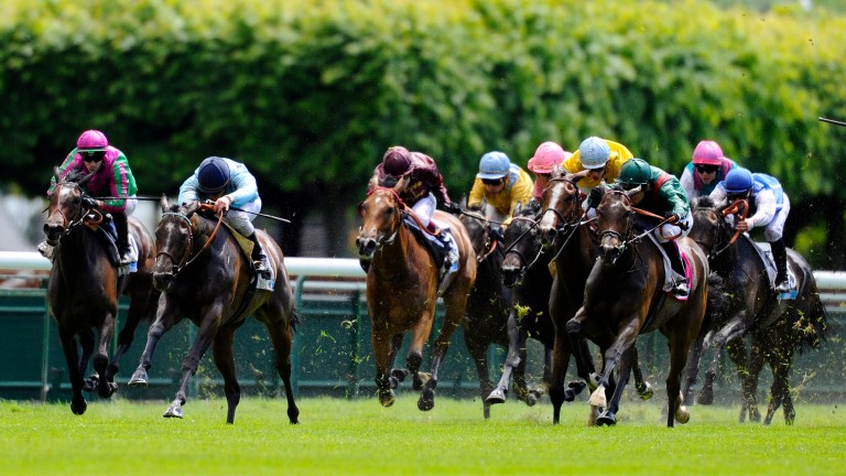 Avenir Certain (second left) was allowed to keep the 2014 Poule d'Essai des Pouliches after a lengthy stewards' enquiry