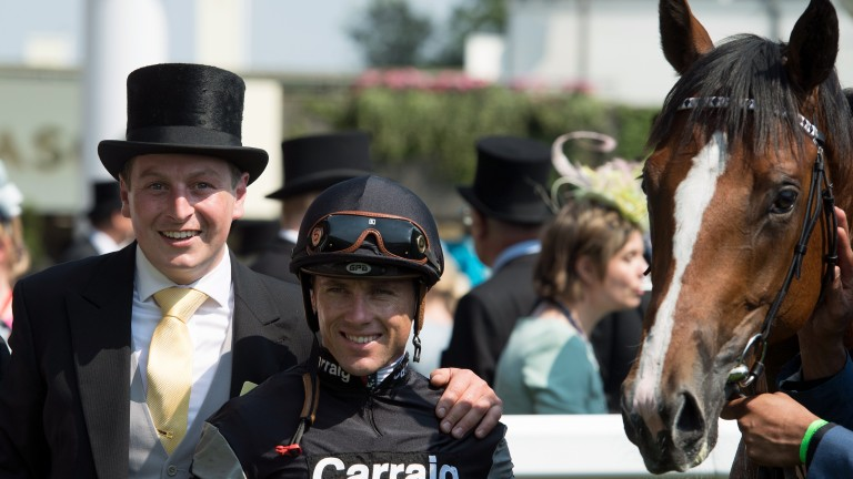 Richard Spencer celebrating Royal Ascot success with his Coventry Stakes winner Rajasinghe and jockey Stevie Donohoe