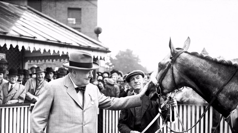 Sir Winston Churchill celebrates the victory of his horse Colonist II