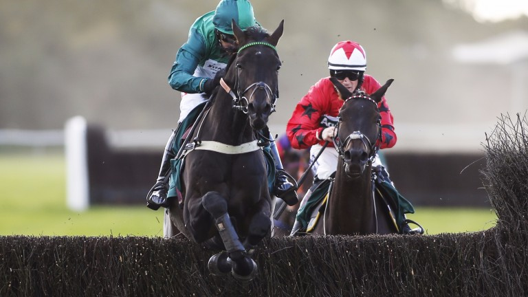Sceau Royal and Daryl Jacob clear the last on the way to making a winning chasing debut at Warwick on Thursday