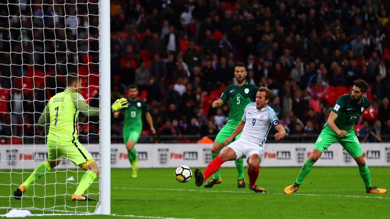 Harry Kane scores for England against Slovenia