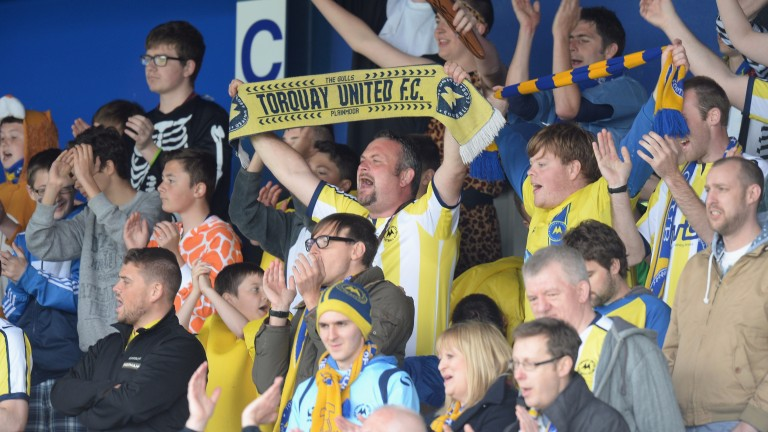 Torquay fans cheer their team