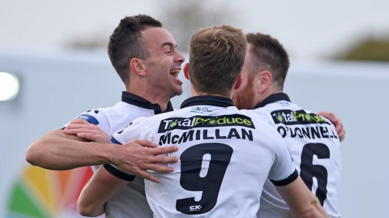 Dundalk celebrate an FAI Cup goal against Shamrock Rovers