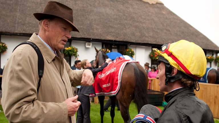 Dream team: Jimmy Fortune with John Gosden after landing the 2011 Bahrain Trophy at Newmarket on Masked Marvel