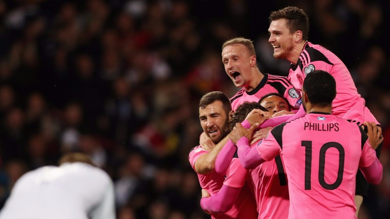 Scotland players celebrate against Slovakia