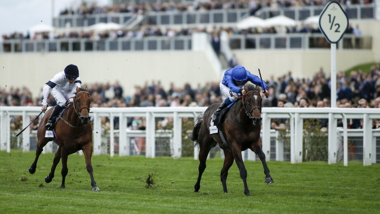 Blue Point (William Buick) is clear of Projection going into the final 100 yards of the John Guest Bengough Stakes at Ascot