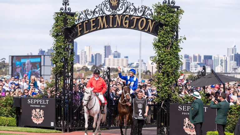 MELBOURNE, AUSTRALIA - OCTOBER 07:  Hugh Bowman returns to scale after riding Winx to win the Seppelt Turnbull Stakes during Melbourne Racing at Flemington Racecourse on October 7, 2017 in Melbourne, Australia.  (Photo by Daniel Pockett/Getty Images  for