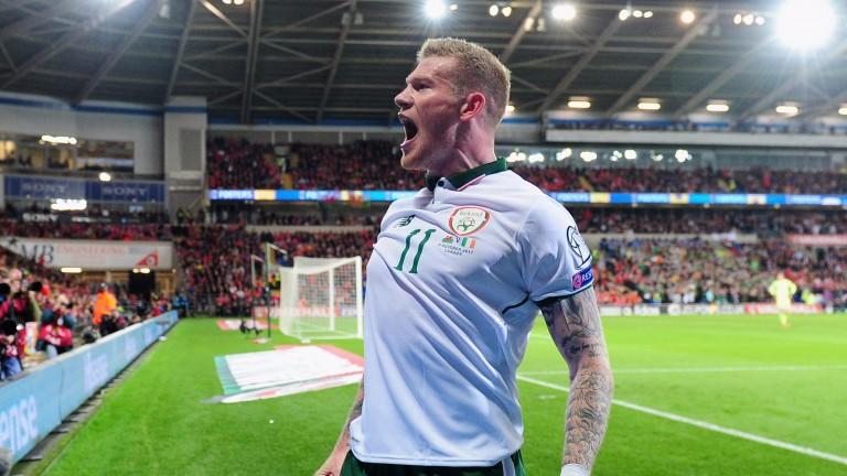James McClean celebrates Ireland's winner in Wales