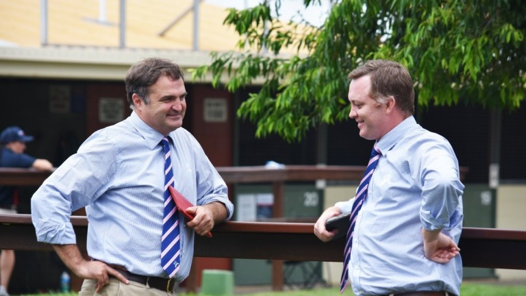 Vin Cox (left) and his successor at Magic Millions Barry Bowditch