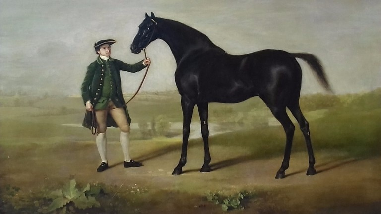 George Stubbs portrait of Snap and Thomas Jackson, now on display in the Packard Galleries at the National Heritage Centre for Horseracing and Sporting Art