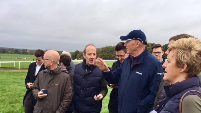John Gosden discusses his Ascot chances with the press in Newmarket this morning
