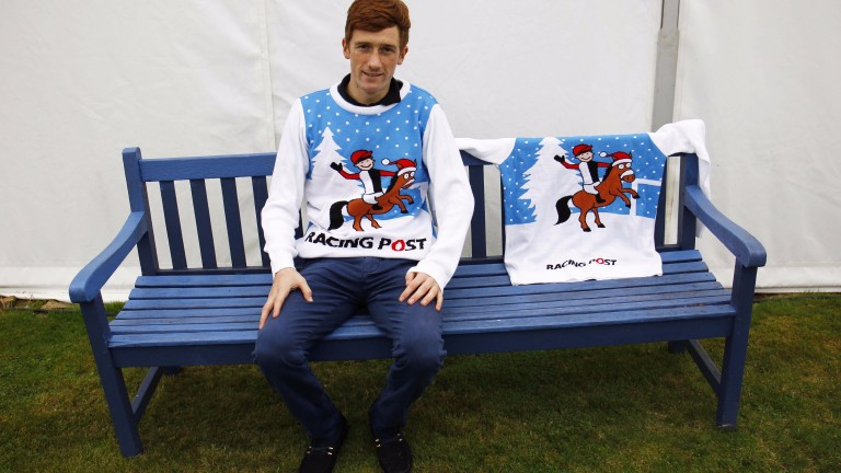 Sam Twiston-Davies models his Christmas jumper at Ludlow