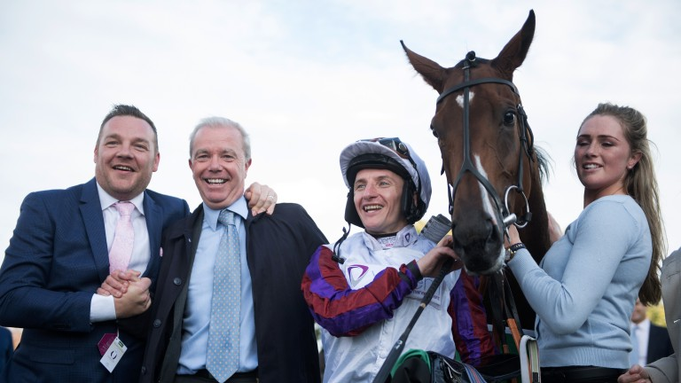 A jubilant John Dance (left) with trainer Karl Burke, retained jockey PJ McDonald and Laurens and her groom Lucy Burke