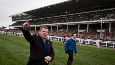 Gordon Elliott: celebrates the win of Don Cossack in the 2016 Gold Cup