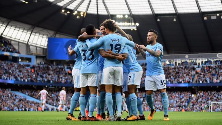Man City smashed seven goals past Stoke